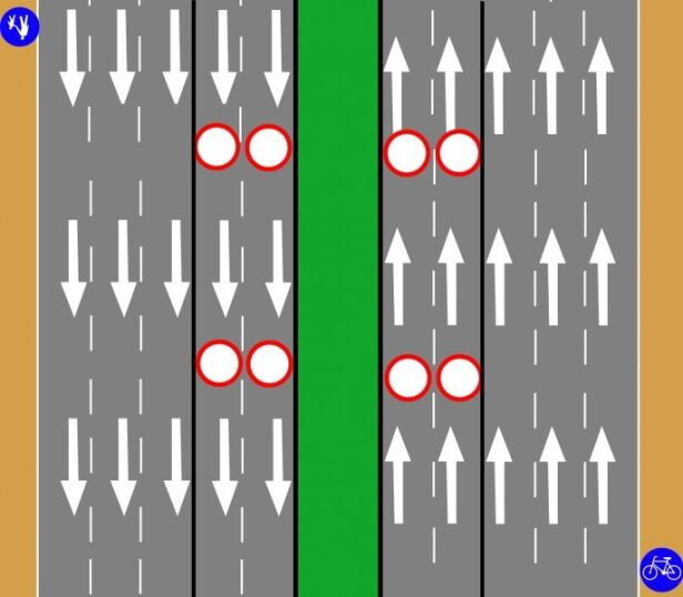 Uproszczony schemat ruchu na moście  GDDKiA