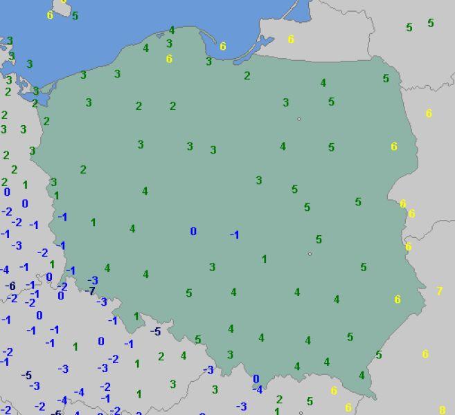 Temperatura w Polsce 11 listopada o godzinie 7.30 (wetteronline.de)