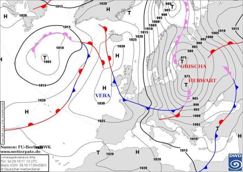 Prognoza pola barycznego na niedzielę 29.10.2017