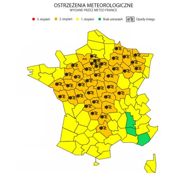 Ostrzeżenia meteorologiczne we Francji (Meteo France)