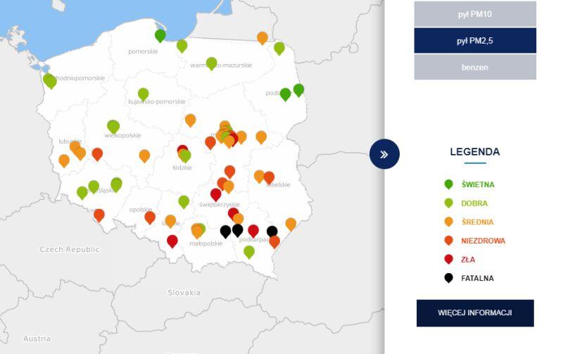 Poziom zanieczyszczenia pyłem PM2,5 o godzinie 21 (tvnmeteo.pl za GIOŚ)