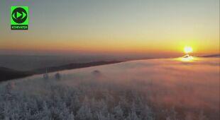 Poranek z wieży widokowej na Wielkiej Sowie
